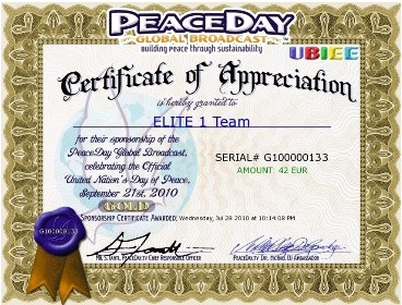 Elite 1 Team Certificate of Appreciation