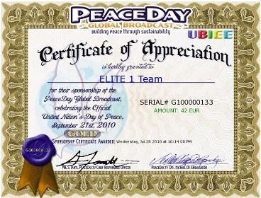 Elite 1 Team Certificate of Appreciation